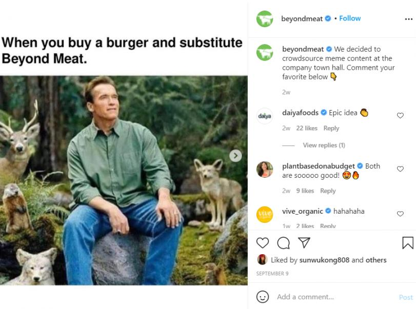 Beyond Meat's social account 1